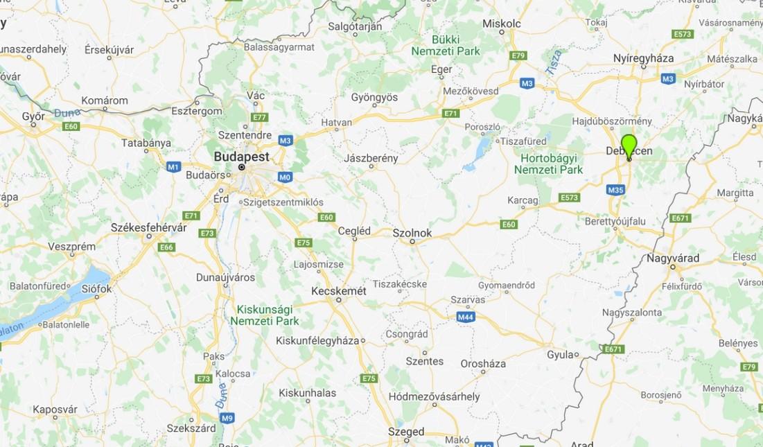 Debrecen térképen