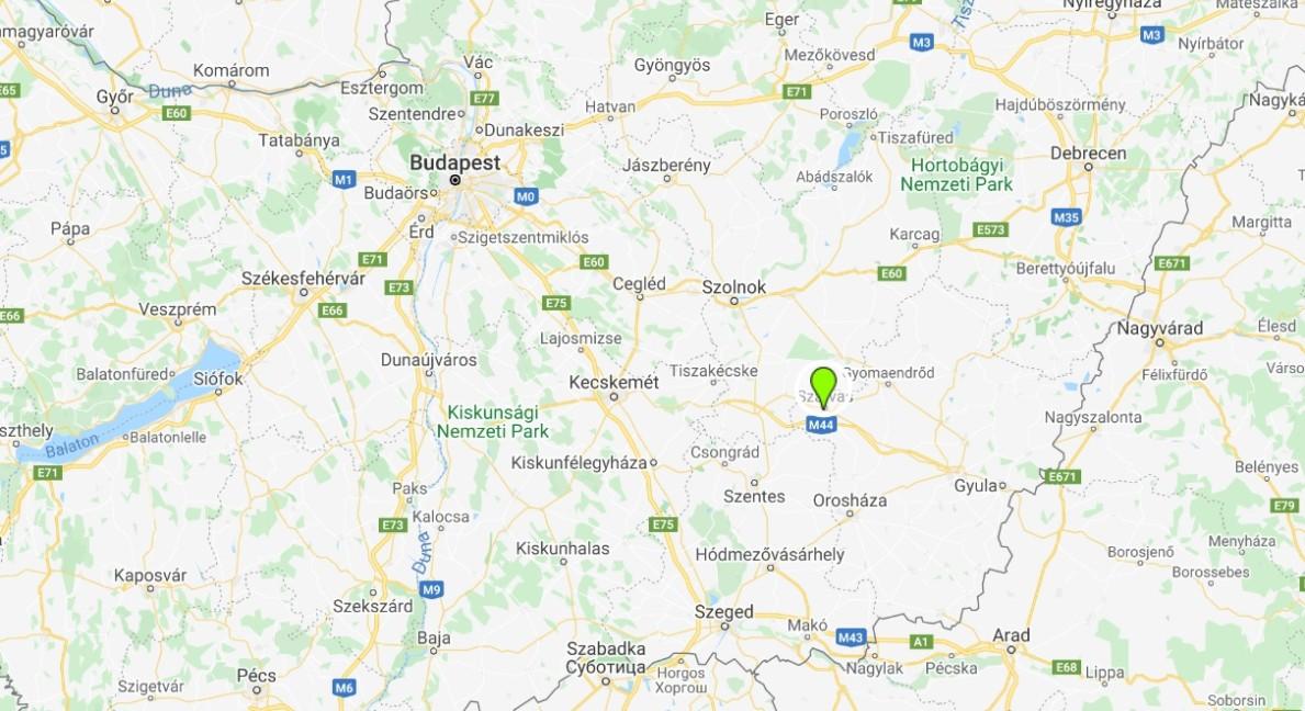 Szarvas térképen