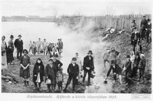 A fotó nem sokkal a víz feltörése után készült (Forrás: Hajduszoboszló város archívuma)