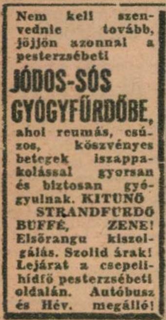Jódos sós fürdő hirdetés 1947
