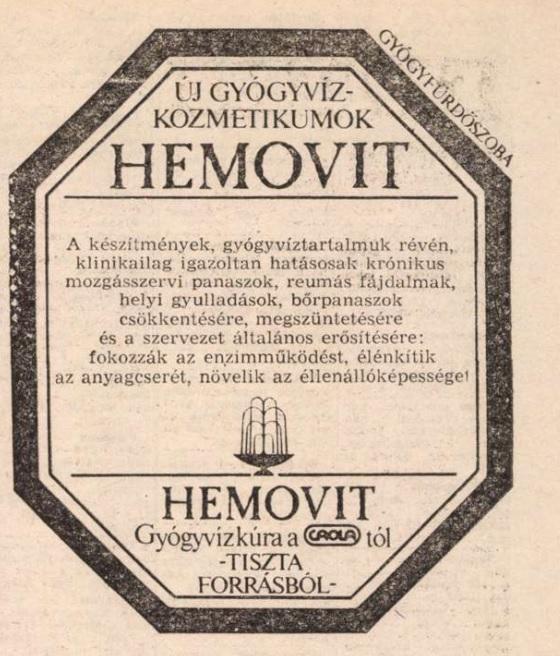 Hemovit hirdetés 1985